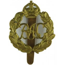 Royal Armoured Corps - RAC In Crowned Wreath 1939-1941 with King's Crown. Brass Other Ranks' metal cap badge