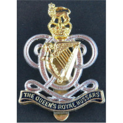 Queen's Royal Hussars (Queen's Own And Royal Irish) Formed 1 Sep 1993 with Queen Elizabeth's Crown. Silver-plated, gilt and enam