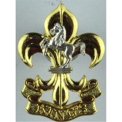 King's Regiment (Bigger 1999-2006 Issue - 45mm High) (Fleur-De-Lys/Horse)  Silver-plate and gilt Other Ranks' metal cap badge