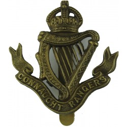Connaught Rangers Voided Harp-Strings with King's Crown. Brass Other Ranks' metal cap badge
