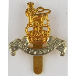 Royal Army Pay Corps 35mm High For Beret with Queen Elizabeth's Crown. Bi-metallic Other Ranks' metal cap badge