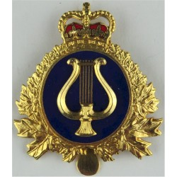 Canadian Armed Forces Band Branch  with Queen Elizabeth's Crown. Gilt and enamel Other Ranks' metal cap badge