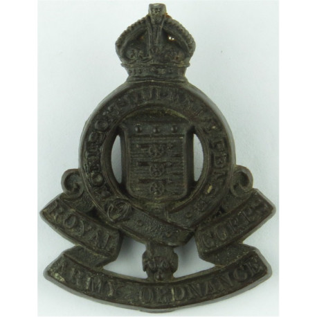 Royal Army Ordnance Corps Brown Colour with King's Crown. Plastic Bakelite plastic cap badge