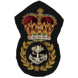 Royal Navy Chief Petty Officer  with Queen Elizabeth's Crown. Bullion wire-embroidered Naval cap badge or cap tally