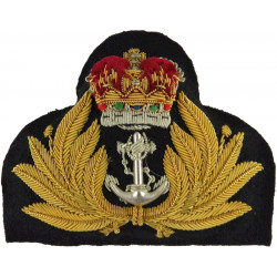 Royal Navy Officer - Full Size Gold Leaves with Queen Elizabeth's Crown. Bullion wire-embroidered Naval cap badge or cap tally