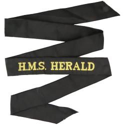HMS Herald (Hydrographic Survey Ship) Cap-Tally 1973-2001  Woven Naval cap badge or cap tally