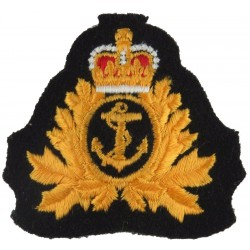 Royal Canadian Navy - Officers & CPO 1 Beret Size with Queen Elizabeth's Crown. Embroidered Naval cap badge or cap tally