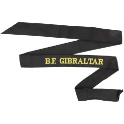 BF Gibraltar (HQ British Forces Gibraltar) Cap-Tally  Woven Naval cap badge or cap tally