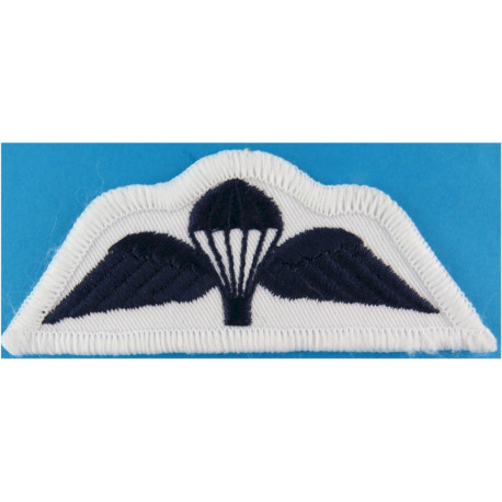 UK Royal Navy Parachute Wings Navy Blue On White  Embroidered Parachute jump wings or badge