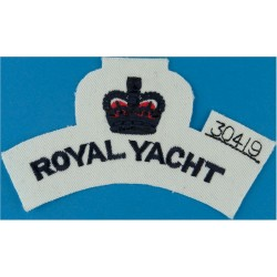 Royal Yacht Shoulder Title (Stores Numbered) Blue On White with Queen Elizabeth's Crown. Embroidered Naval Branch, rank or misce