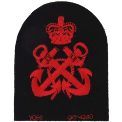 Petty Officer's Rate Badge (Tombstone Shape) Red On Navy Blue with Queen Elizabeth's Crown. Embroidered Naval Branch, rank or mi