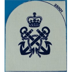 Petty Officer's Rate Badge (Tombstone Shape) Blue On White with Queen Elizabeth's Crown. Printed Naval Branch, rank or miscellan