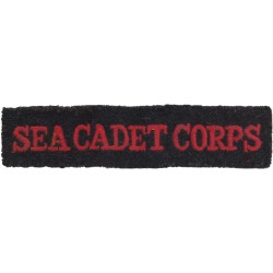 Sea Cadet Corps Shoulder Title - Straight Red On Navy Blue  Embroidered Naval Branch, rank or miscellaneous insignia