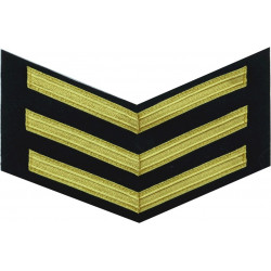 Royal Navy Good Conduct Chevrons (3 Bar - 12 Years) Gold On Navy Blue  Bullion wire-embroidered Naval Branch, rank or miscellane