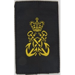 Petty Officer's Slip-On Rate Slide Yellow On Black with Queen Elizabeth's Crown. Woven Naval Branch, rank or miscellaneous insig