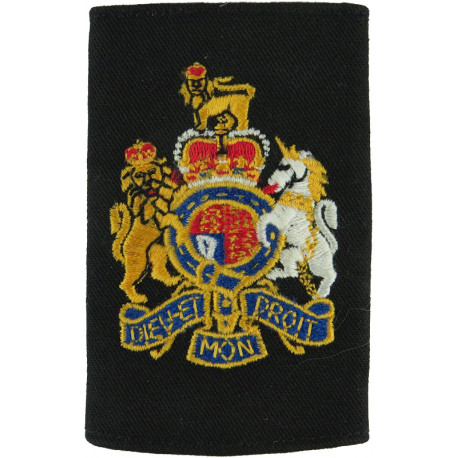 Royal Navy Warrant Officer Class 1 Rank Slide Colour On Black with Queen Elizabeth's Crown. Embroidered Naval Branch, rank or mi