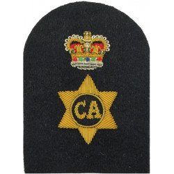Caterer - CA In 6-Pointed Star + Crown Trade - Gold On Navy with Queen Elizabeth's Crown. Bullion wire-embroidered Naval Branch,