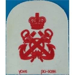 QARNNS Petty Officer's Rate Badge (Tombstone Shape) Red On White with Queen Elizabeth's Crown. Embroidered Naval Branch, rank or