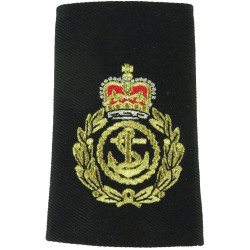 Royal Navy Chief Petty Officer Slip-On Rank Slide Shiny Gold On Black with Queen Elizabeth's Crown. Lurex Naval Branch, rank or