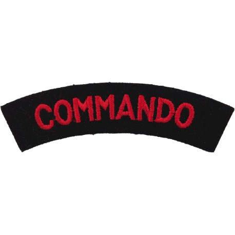 Commando Shoulder Title (Royal Navy Commando - Rare) Red On Navy Blue  Embroidered Naval Branch, rank or miscellaneous insignia