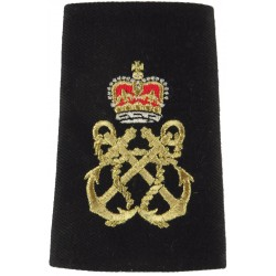 Petty Officer's Slip-On Rate Slide - New Type Shiny Gold On Black with Queen Elizabeth's Crown. Lurex Naval Branch, rank or misc