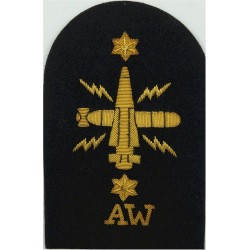 WRNS Weapons Analyst (Crossed Rockets) + Crown Trade: Blue On Navy Queen's Crown. Embroidered Naval Branch, rank or miscellaneou