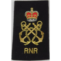 WRNS Quarters Assistant - QA In Circle & Crown Trade: Blue On Navy Queen's Crown. Embroidered Naval Branch, rank or miscellaneou