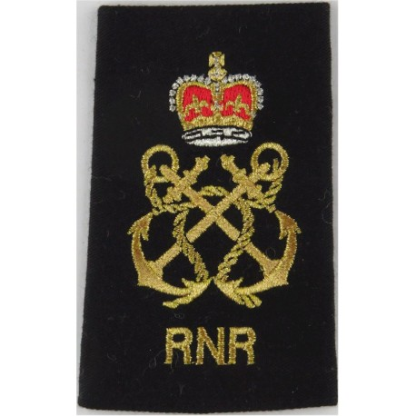 WRNS Quarters Assistant - QA In Circle & Crown Trade: Blue On Navy with Queen Elizabeth's Crown. Embroidered Naval Branch, rank
