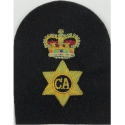 Charge Chief Artificer's Rank Badge (Tombstone) Gold On Navy with Queen Elizabeth's Crown. Bullion wire-embroidered Naval Branch