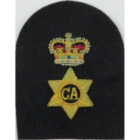 Charge Chief Artificer's Rate Badge (Tombstone) Gold On Navy with Queen Elizabeth's Crown. Bullion wire-embroidered Naval Branch