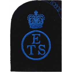 WRNS Education & Training Support (ETS Circle) Crown Trade: Blue On Navy with Queen Elizabeth's Crown. Embroidered Naval Branch,