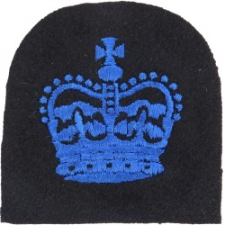 WRNS Regulating Petty Officcr - Crown Trade: Blue On Navy with Queen Elizabeth's Crown. Embroidered Naval Branch, rank or miscel
