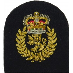 Charge Chief Artificer's Rate Badge (Tombstone) Gold On Navy - Mess with Queen Elizabeth's Crown. Bullion wire-embroidered Naval