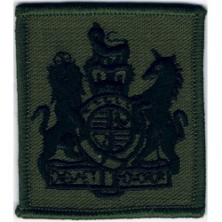 WO1 Rank Badge For DPM Combat Jacket - Royal Marines Black On Olive Green with Queen Elizabeth's Crown. Embroidered Marines or C