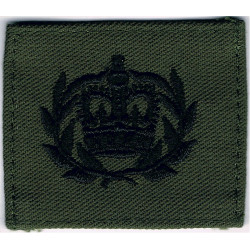 WO2 Rank Badge - For Royal Marines Combat Jacket Black On Olive Green with Queen Elizabeth's Crown. Embroidered Marines or Comma