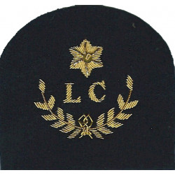 Royal Marines LC In Wreath + Star: Landing Craft Trade: Gold On Navy  Bullion wire-embroidered Marines or Commando insignia