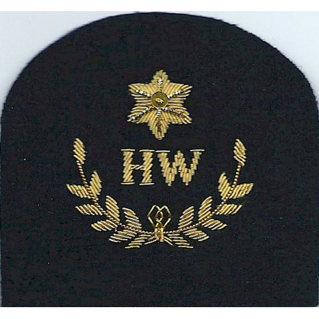 Royal Marines HW In Wreath + Star: Heavy Weapons Trade: Gold On Navy  Bullion wire-embroidered Marines or Commando insignia