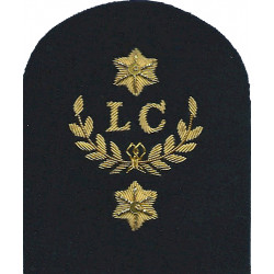 Royal Marines LC In Wreath + 2 Stars: Landing Craft Trade: Gold On Navy  Bullion wire-embroidered Marines or Commando insignia