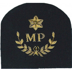 Royal Marines MP In Wreath + Star: Provost Trade: Gold On Navy  Bullion wire-embroidered Marines or Commando insignia