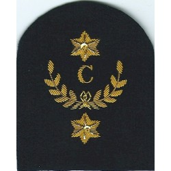 Royal Marines C In Wreath + 2 Stars: Clerk Trade: Gold On Navy  Bullion wire-embroidered Marines or Commando insignia