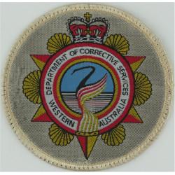 Western Australia Department Of Corrective Services Arm Badge - Circular with Queen Elizabeth's Crown. Woven Overseas Police, Pr