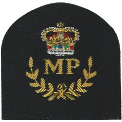 Royal Marines MP In Wreath + Crown: Provost Trade: Gold On Navy with Queen Elizabeth's Crown. Bullion wire-embroidered Marines o