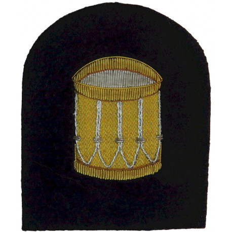 Royal Marines Bugler (Drum) Trade: Gold On Navy  Bullion wire-embroidered Marines or Commando insignia