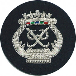 Royal Marines Prince's Badge - PP In Wreath Silver On Navy Blue  Bullion wire-embroidered Marines or Commando insignia
