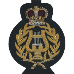 Royal Marines WO2 Band Master - Large On Navy Blue Lyre In Wreath with Queen Elizabeth's Crown. Bullion wire-embroidered Marines