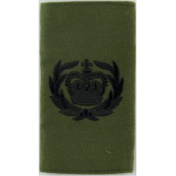 WO2 (Crown In Wreath) - Royal Marines Pattern Black On Olive Green with Queen Elizabeth's Crown. Embroidered Marines or Commando