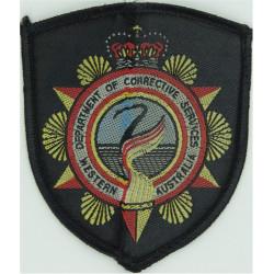 Western Australia Department Of Corrective Services Arm Badge - Shield with Queen Elizabeth's Crown. Woven Overseas Police, Pris