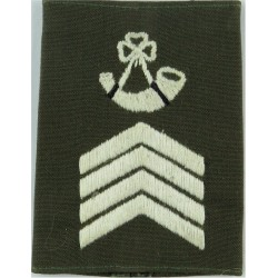 Royal Marines Bugle Major's Rank Slide White On Lovat Green  Embroidered Marines or Commando insignia
