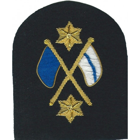 Royal Marines Crossed Flags + 2 Stars: Signaller Trade: Gold On Navy  Bullion wire-embroidered Marines or Commando insignia