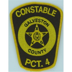 USA: Texas: Galveston County Constable Precinct 4 Arm-Badge - Yellow  Embroidered Overseas Police, Prison or Corrections insigni